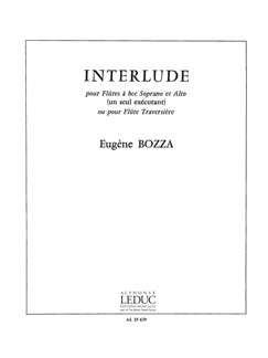 Bozza Interlude Flute Solo (sop & Alto Recorder) Sheet Music