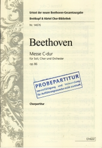 Beethoven Mass In C Op86 Choral Scoremin 20 Sheet Music