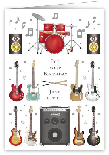 Greetings Card Happy Birthday Musical Instruments Sheet Music