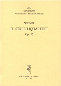 Weiner String Quartet No 2 Op13 Pocket Score Sheet Music