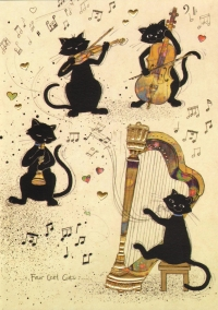 Bug Art Greetings Card Four Cool Cats Sheet Music